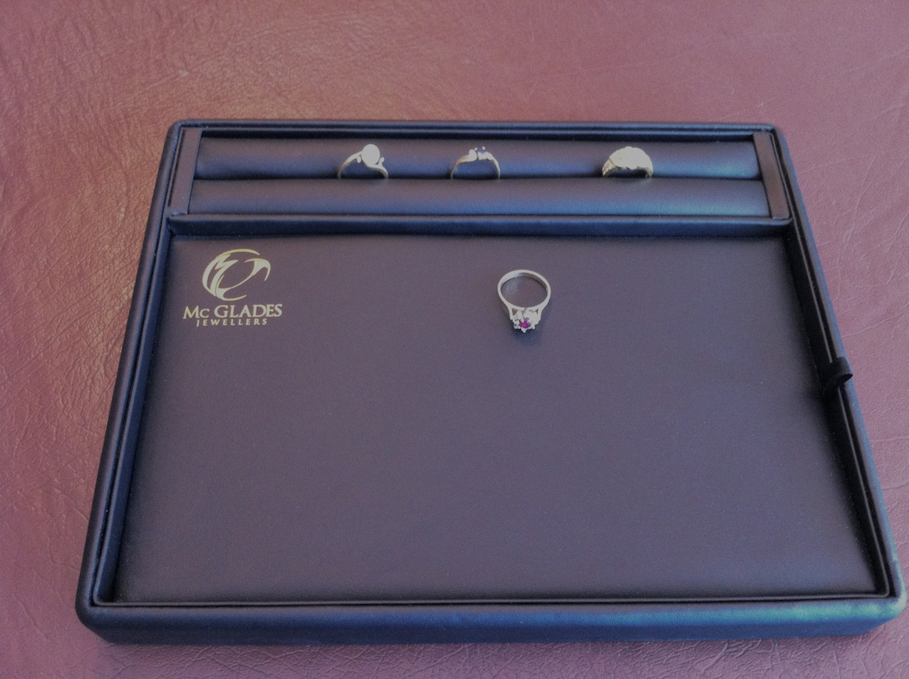 Black Leatherette Printed Ring Slot Layout Tray