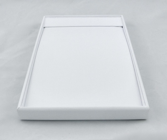 Chain Tray White Leatherette with Flap