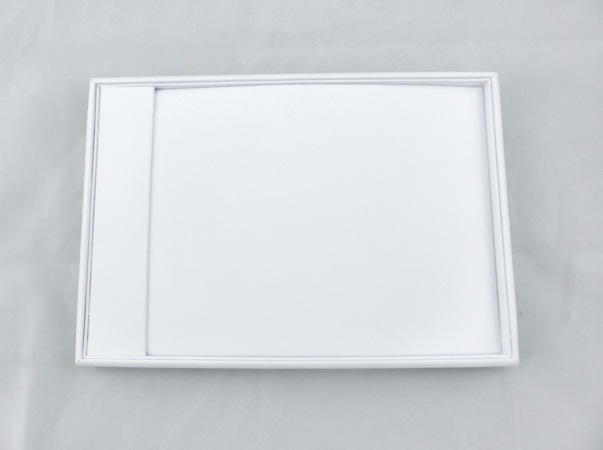 White Leatherette chain Tray with Flap