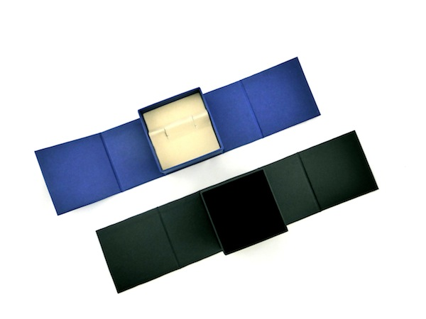 Blue Cufflink box with either beige or black insert