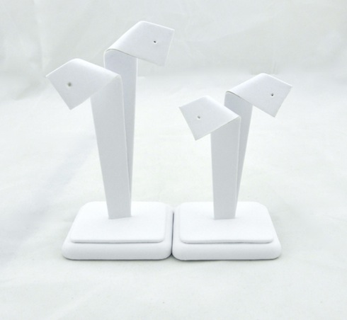 White Leatherette Large Bow Earring Stand