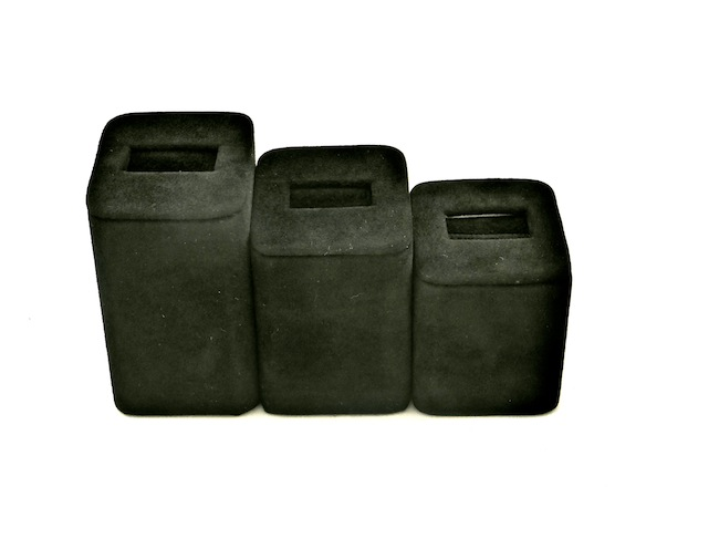 Black Suede Square Slot Ring Stand