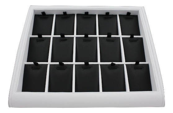 White Pendant Display Tray with black inserts