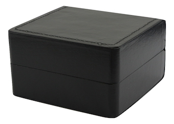Watch Box (stitched black leatherette/black suede interior with pillow)