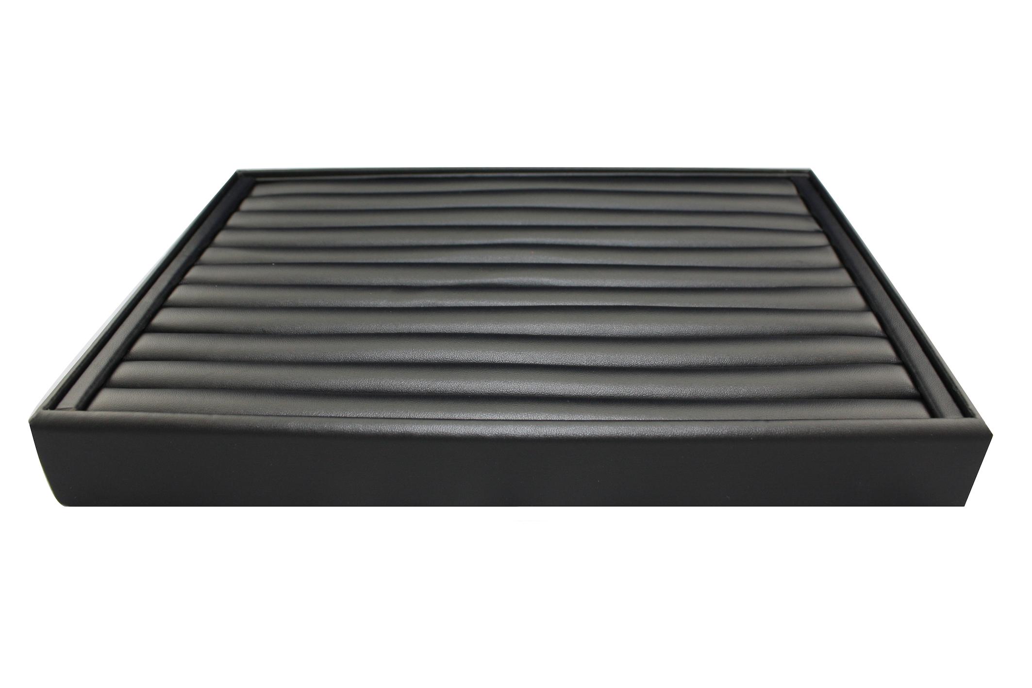 Black Leatherette Slot Ring Tray