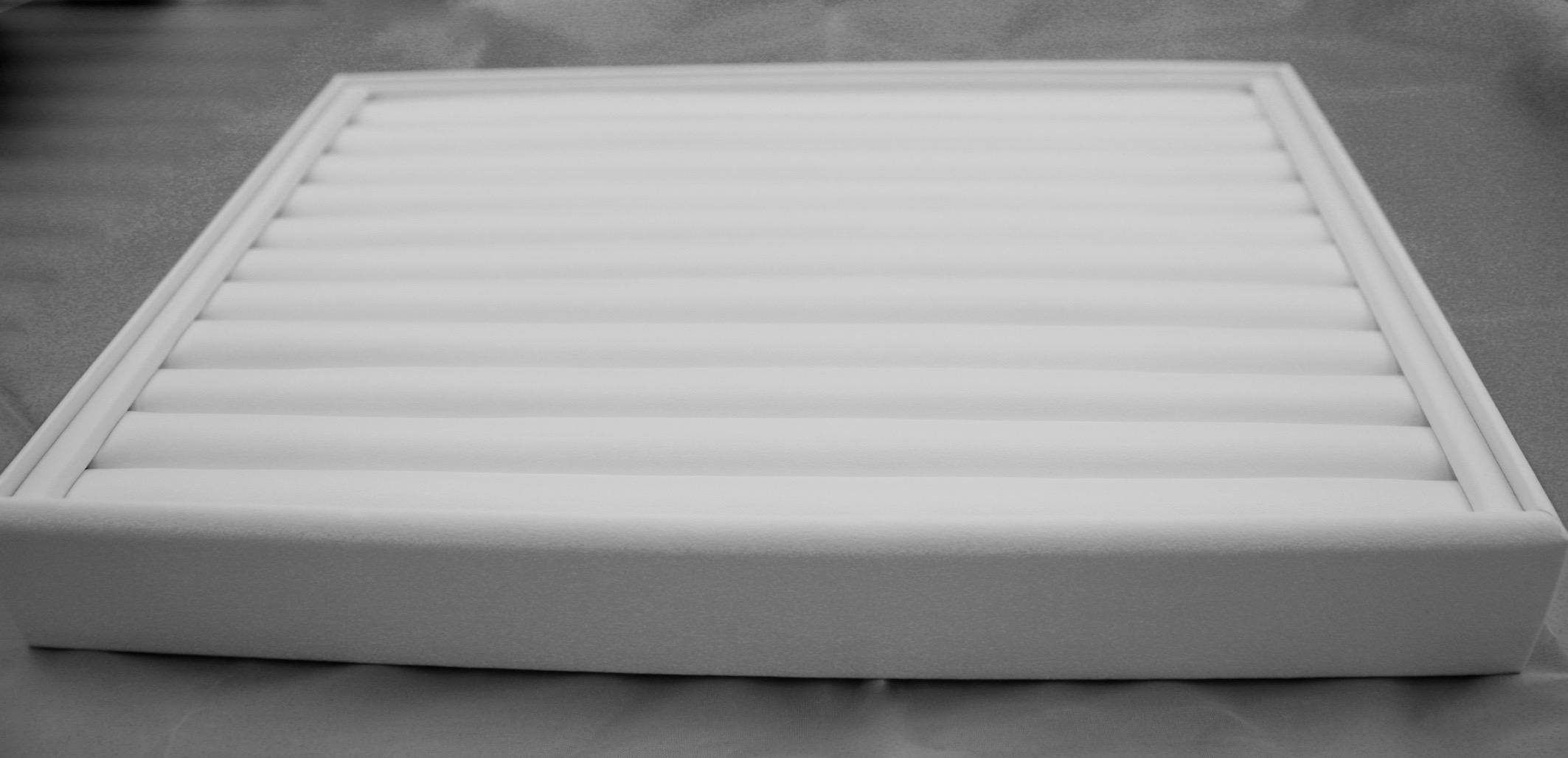 White Leatherette Slot Ring Tray