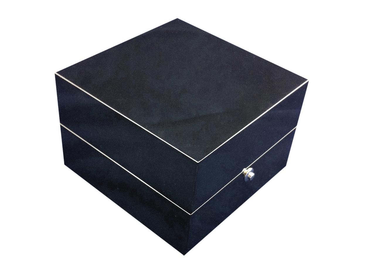 Glossy black ring box with white interior