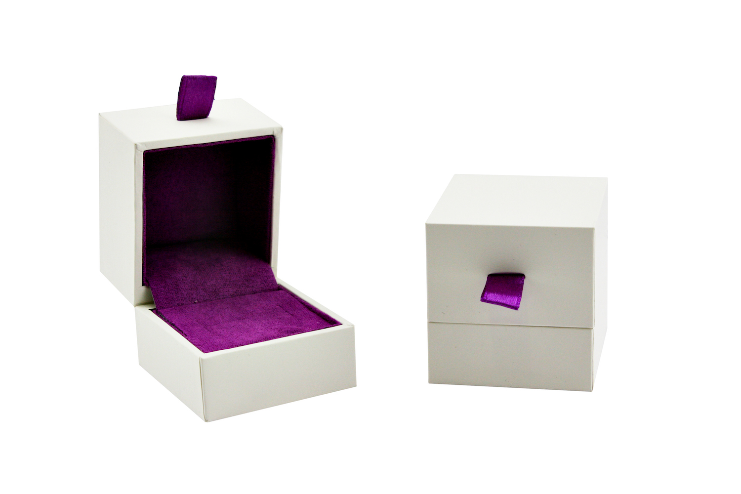 White and purple ring box