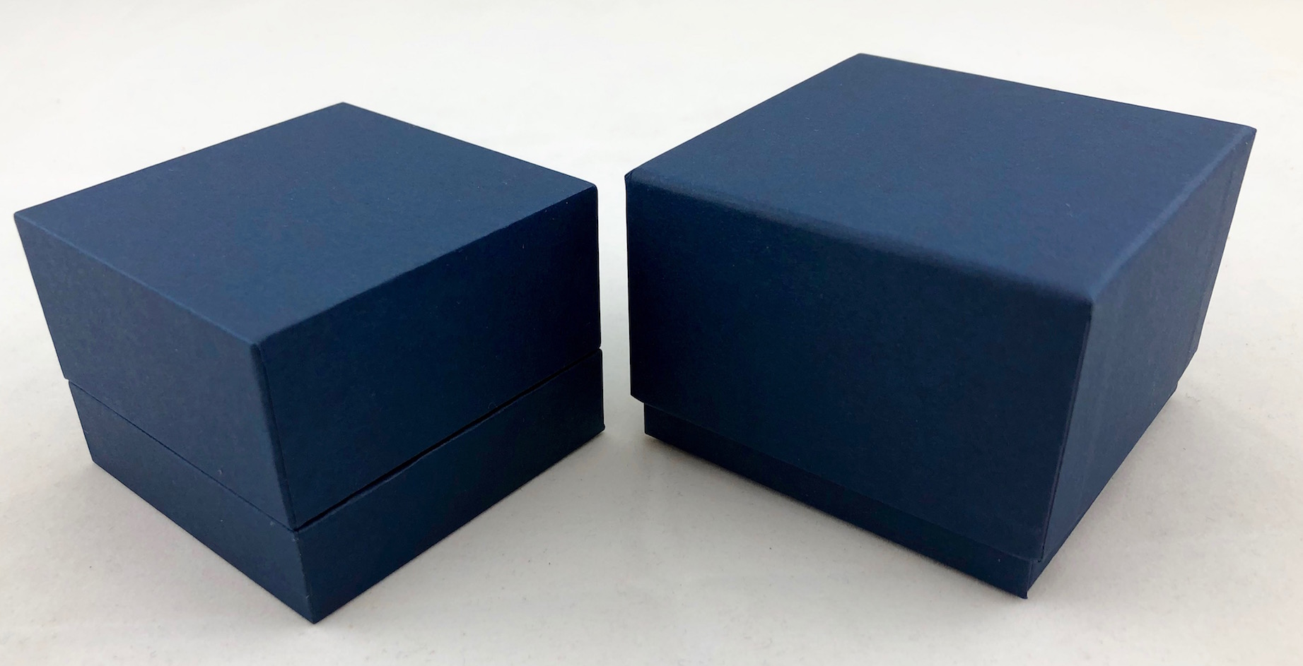 Blue Double Ring Box and Blue Two Piece Packer Box
