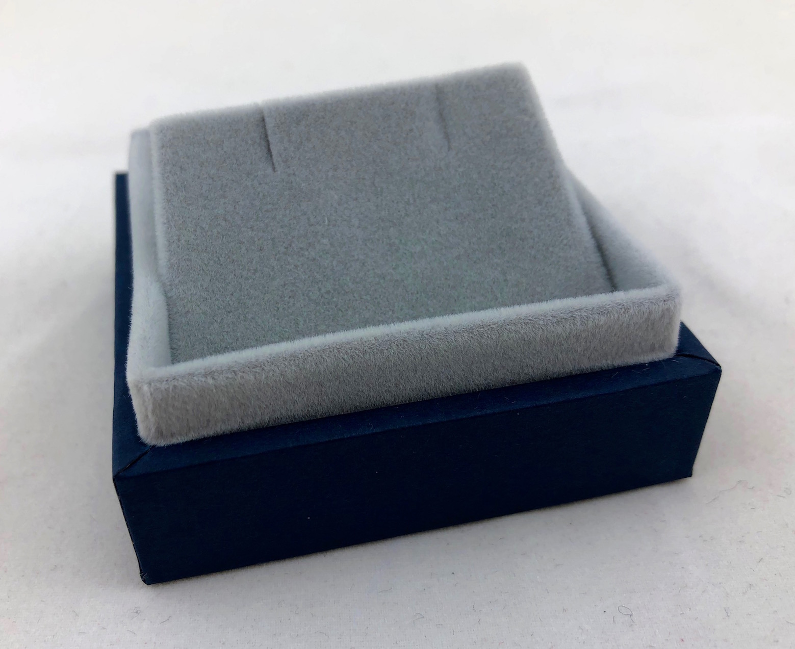 Blue Earring box with grey suede inserts