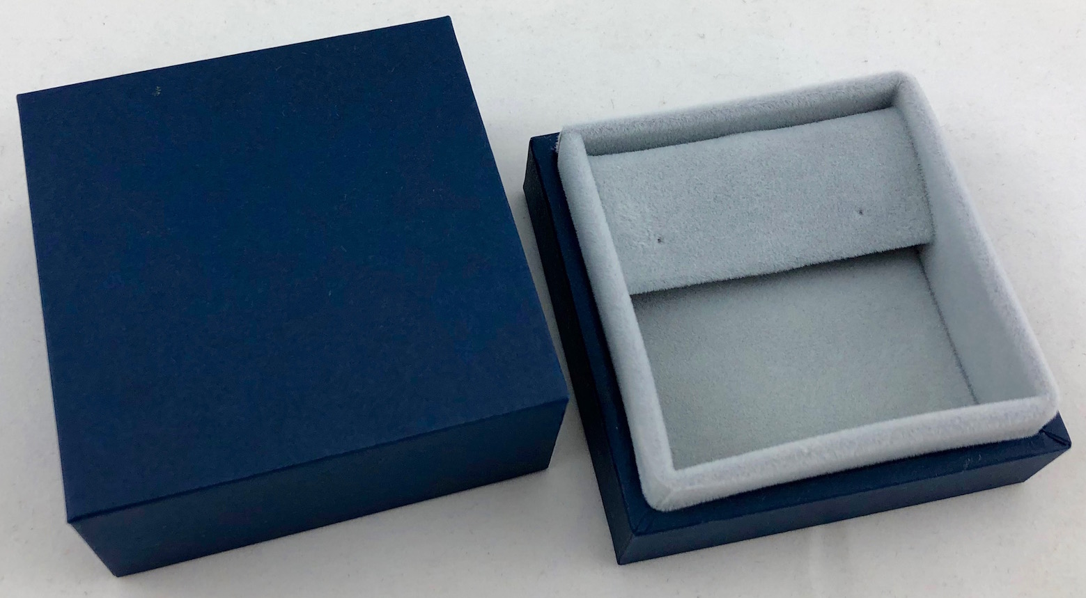 Blue Drop Earring Box with light grey suede lining