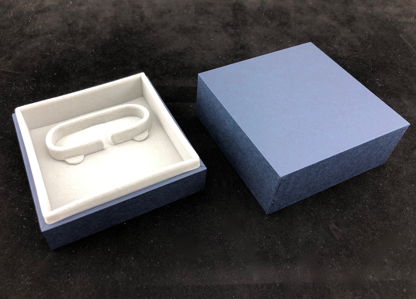 Blue Envy Bangle Box with suede interior