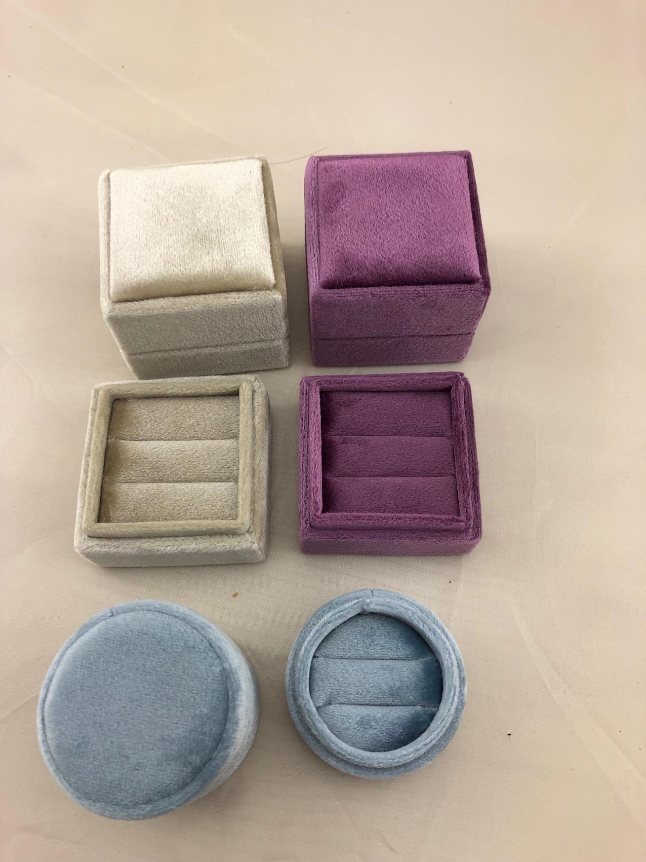 Light Blue velvet double ring box