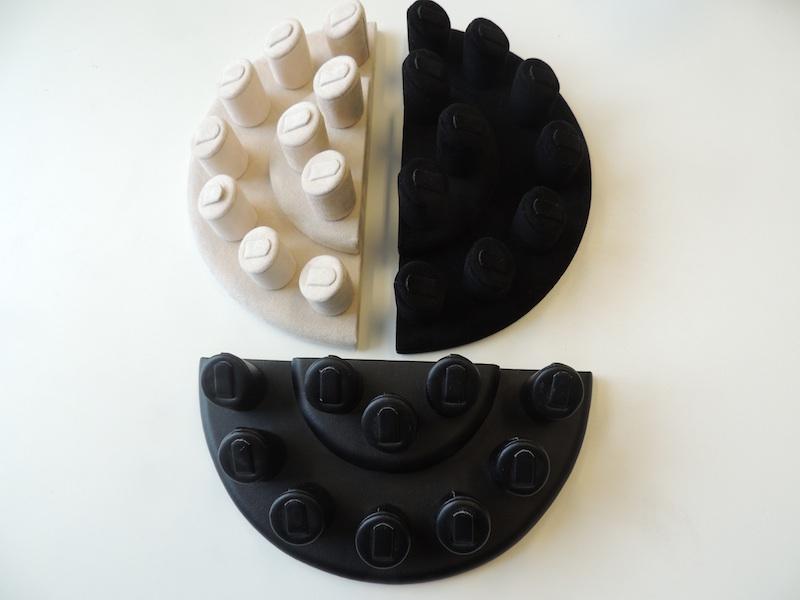 Multiple Ring Display (Black Suede) Fingers