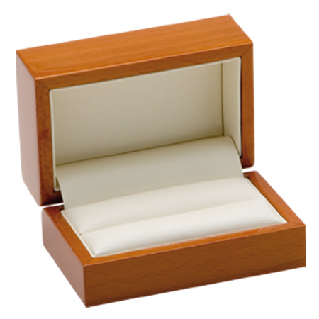 Luxury Leather Double Ring Box Open