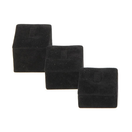 Square Ring Stand Large - Black Suede