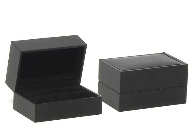 Black Suede Double Ring/Cufflinks Box