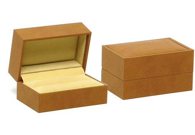 Brown & Light Brown Suede Double Ring/ Cufflinks Box